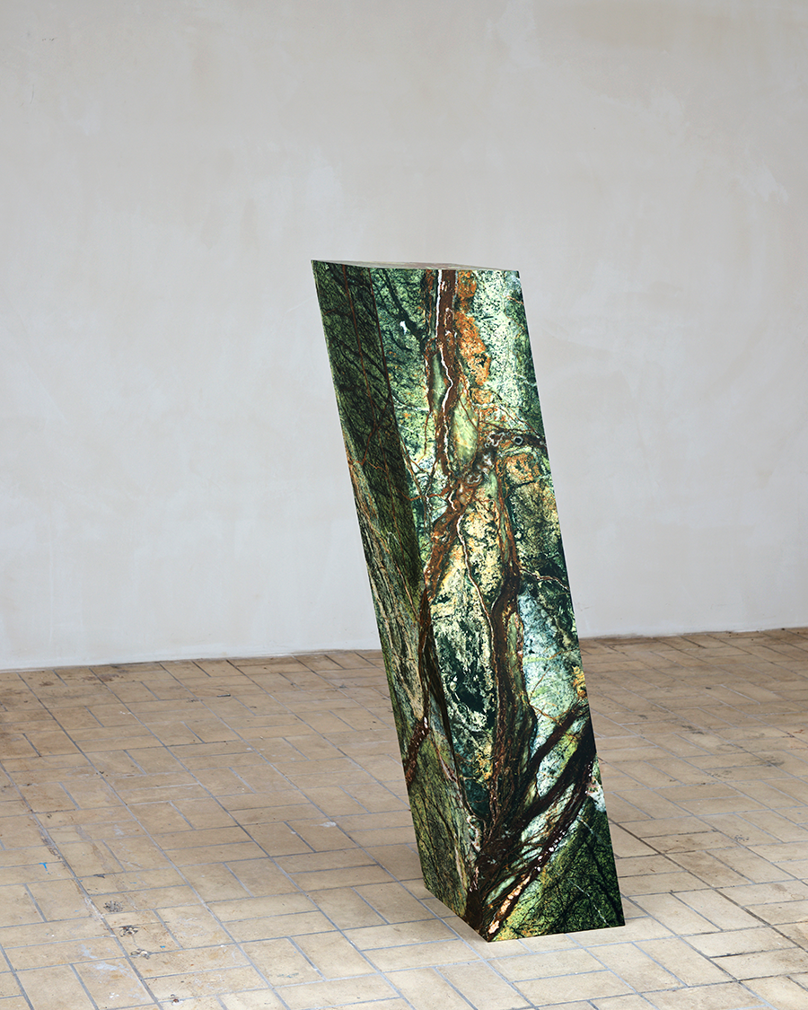 Stone 2018 - pigment transfer on wood - 150 x 35 x35 cm