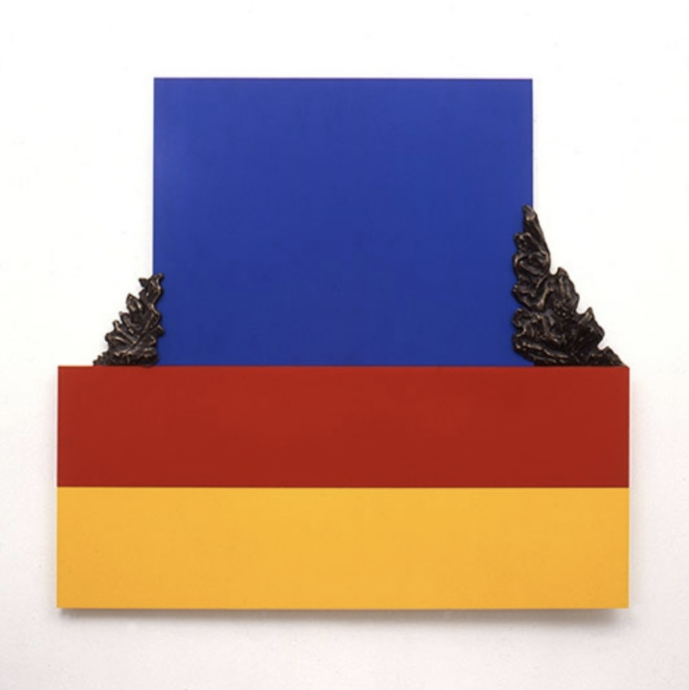 autumn leaves 1986 - painted wood and bronze - 110 x 120 x 4cm